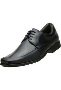 Sapato Social Couro Pelica Amarrar - Masculino-Preto
