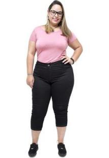 Calça Jeans Feminina Credencial Plus Size Cropped Tali - Feminino-Preto