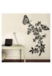 Adesivo De Parede 2 Borboletas E Floral - Eg 77X118Cm