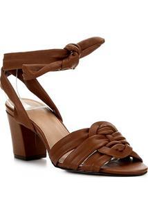 Sandália Couro Shoestock Salto Bloco Amarração Feminina - Feminino-Marrom Claro