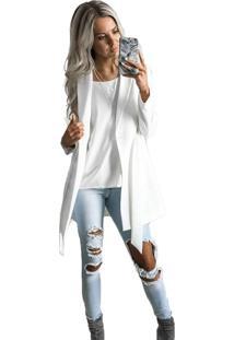 Blazer Branco Maxi Elegance Slim