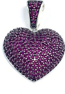 Pingente Prata Mil Coração C/ Zirconias Prata