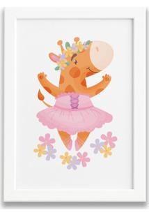 Quadro Bailarina Girafa Para Menina Moldura Branca 22X32Cm