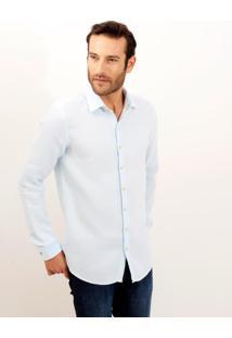 Camisa Dudalina Manga Longa Puro Linho Tinturado Masculina (Azul Claro, 4)