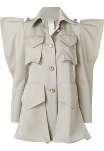 Nina Ricci Structured Shoulder Shirt Jacket - Cinza