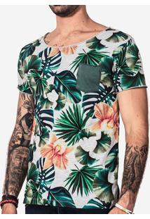Camiseta Hermoso Compadre Floral Mescla Masculina - Masculino-Cinza