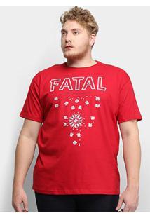 Camiseta Fatal Beautiful Life Plus Size Masculina - Masculino-Vermelho