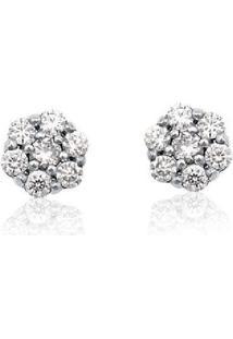 Brinco De Ouro 18K Com Diamante
