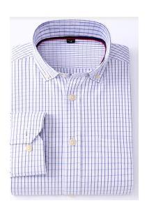 Camisa Social Masculina Nashville - Azul E Branca