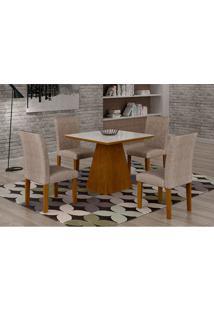 Conjunto De Mesa De Jantar Luna Com 4 Cadeiras Ane Ii Suede Amassado Imbuia, Branco E Chocolate