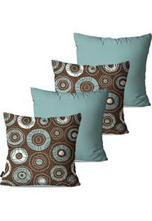 Kit Com 4 Capas Para Almofadas Decorativas Azul Envelhecido Étnicas Círculos 45X45Cm