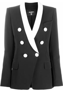 Balmain Double-Breasted Cotton Blazer - Preto