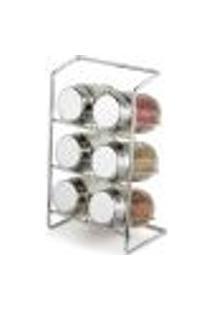 Jogo 6 Porta Temperos De Vidro Com Suporte Para Bancada Porta Condimentos Elegance Forma Inox