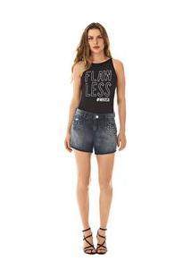 Bermuda Comfort Detalhe Tachas Jeans