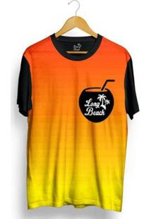 Camiseta Long Beach Côco Sublimada Masculina - Masculino-Laranja+Preto