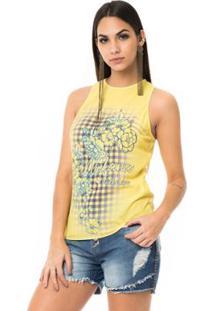 Regata Moikana Frente Estampada Flores Feminina - Feminino-Amarelo
