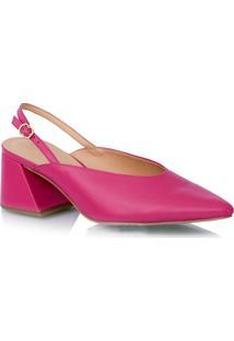 Scarpin Salto Médio Couro Rosa Pink