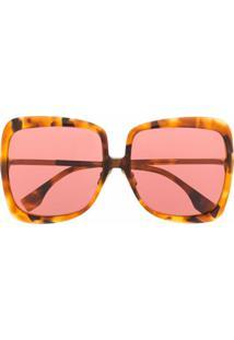 Fendi Eyewear Óculos De Sol Quadrado Oversized - Marrom