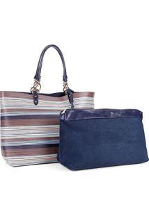 Bolsa Shopper Listrada Wj Com Nécessaire Feminina - Feminino-Azul