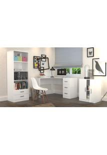 Conjunto Escritório Office Plus Appunto 3 Peças: Armário Com Gavetas, Escrivaninha Em L Com 3 Gavetas E Balcão - Branco - Multistock