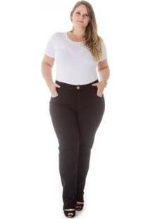 Calça Jeans Plus Size Reta Cintura Alta Feminina - Feminino-Preto