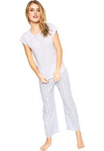 Pijama Cor Com Amor Listras Branco/Azul