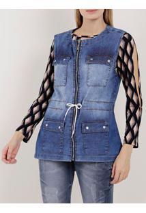Colete Parka Jeans Feminino Azul