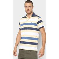 Camisa Polo Aleatory Estampa Listrada Masculina - Masculino-Marinho+Amarelo 8fb72bd2c912f