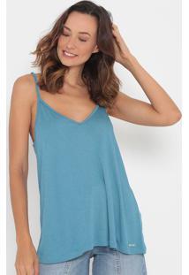 Blusa Lisa Com Tag Da Marca Metalizada- Azul Claro- Colcci
