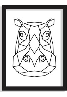 Quadro Decorativo Line Drawing Hipopótamo Preto - Grande