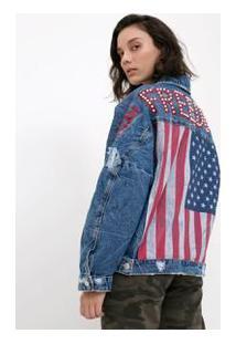 Jaqueta Jeans Com Pérolas E Bordados Usa