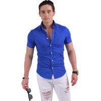 Camisa Horus Social Manga Curta Slim Azul Royal 500204 6be8869e9c7fd