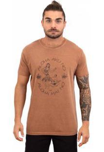 Camiseta Limits Laundry Aloha Song Masculina - Masculino-Marrom