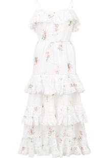 Zimmermann Vestido Floral Com Babados - Branco