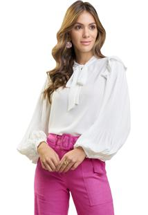 Blusa Mx Fashion De Chiffon Com Mangas Plissadas Pietra Off White - Tricae