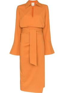 Usisi Margherita Wrap Midi Dress - Laranja
