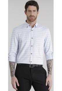 Camisa Comfort Listrada Em Algodão + Sustentável Off White