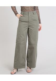 Calça Feminina Mindset Pantalona Cargo Em Sarja Verde Militar