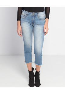 Jeans Cropped Estonado Com Fendas - Azul Claro- My Fmy Favorite Things
