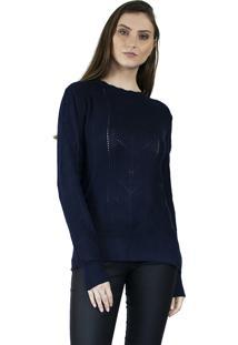 Suéter The Style Box Trançado Com Fendas Laterais Azul Escuro