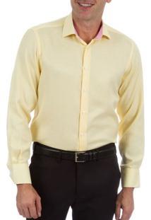 Camisa Social Masculina Amarela Com Detalhe - 02
