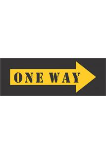 Placa Decorativa One Way 10X30 Cm Preto