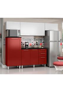 Cozinha Compacta Play 7 Pt 2 Gv Vermelha E Branca