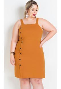 Vestido De Alças Caramelo Plus Size