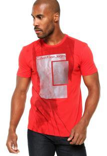 Camiseta Manga Curta Calvin Klein Jeans Abstrata Texturizada Vermelha