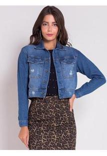 Jaqueta Jeans Areazul Cropped Feminina - Feminino-Azul