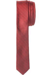 Gravata Slim Mini Listrado Maquinado Sed - Vermelho - U