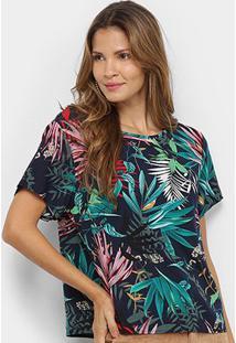 Blusa Mi Estampada Feminina - Feminino-Marinho+Verde