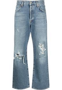 Citizens Of Humanity Calça Jeans Cropped Cintura Média Com Efeito Destroyed - Azul
