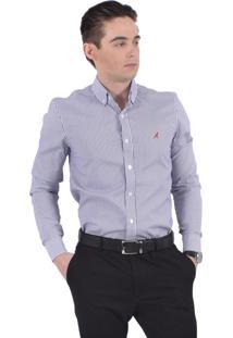 Camisa Social Listrada Horus Slim Azul Marinho 100215